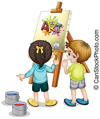 Two children painting on canvas on white background