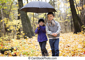 children playing in beautiful autumn park on cold sunny fall day.