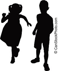 two children playing, silhouette