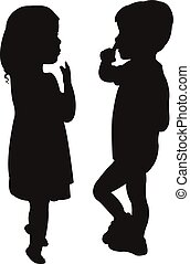 two children silhouette