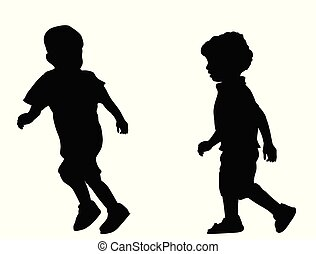 Two children silhouettes running