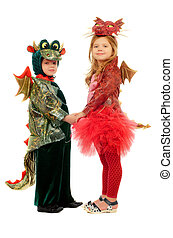 Two children - Two small children dressed as dragons....