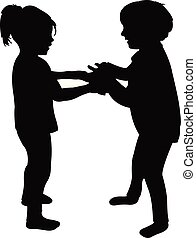 two children talking and playing, silhouette