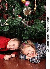 two children under christmas tree