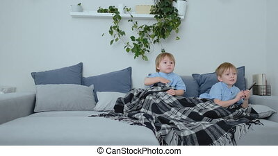 Two children watch an exciting TV show on TV. Two brothers...