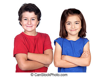 Two children with crossed arms