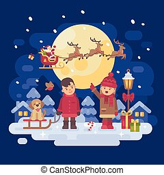Two children with dog playing outside on a snowy winter night. Boy with a sled and a puppy. Girl pointing at Santa Claus in a sleigh with reindeer. Christmas characters greeting card flat illustration
