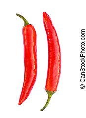 Two chilli peppers isolated on white background