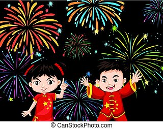 Two Chinese kids with firework background