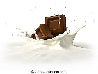 Two chocolate blocks falling into milk splashing.