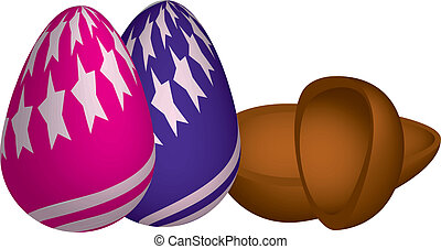 chocolate eggs - two chocolate eggs, one with stars and...