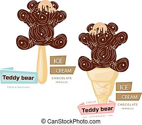 Two chocolate ice cream (teddy bear), cartoon on a white background.