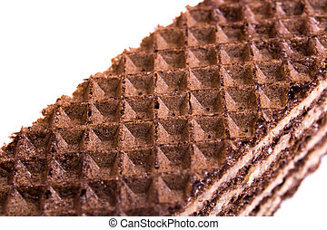 Two chocolate waffles isolated on white background