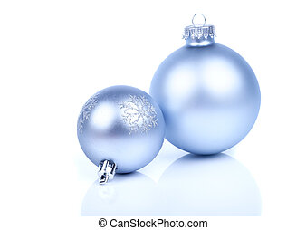 two Christmas balls, on a white background with copy space