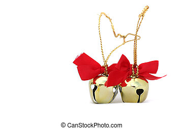 Two Christmas Bells - Two golden Christmas bells on a white ...