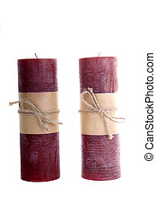 Two Christmas Candles on White