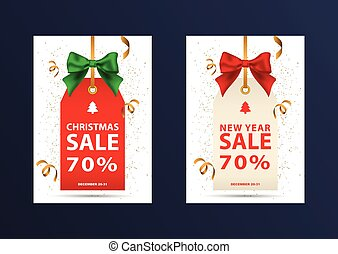 Two christmas discount coupons. Vector illustration in a...