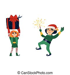 Two Christmas elves with a present and a sparkler