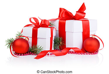 Two Christmas gift with Red Ball, tree branch, ribbon bow and beads isolated on white background