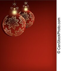 Christmas red balls with golden snowflakes