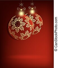 two Christmas red balls with golden snowflakes