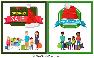 Two Christmas Sale Banner Vector Illustration