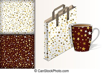 Two christmas seamless patterns, Bag and cup and mockup with stars on white and brown background Concept for design of fabric and paper for printing
