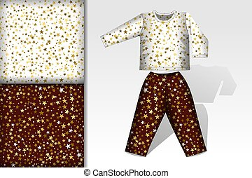Two christmas seamless patterns, Pajamas and mockup with stars on white and brown background Concept for design of fabric and paper for printing