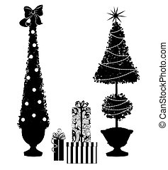 Two Christmas Topiary Trees With Gifts
