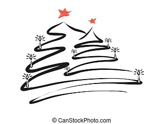 Two Christmas Trees Line Drawing by pen