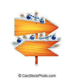 Two christmas wooden arrows isolated vector