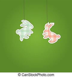 Two Christmass Hare  (rabbit). Vector illustration