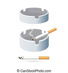 Two cigarettes and ashtrays isolated on white background.