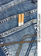 two cigarettes in jeans pocket