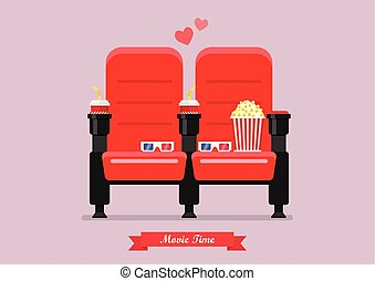 Two cinema seats with popcorn drinks and glasses