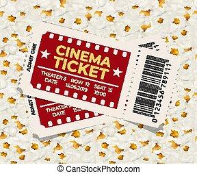 Two cinema tickets on popcorn background vector illustration