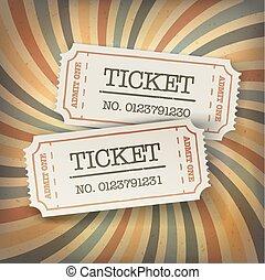 Two cinema tickets. On retro sunburst background