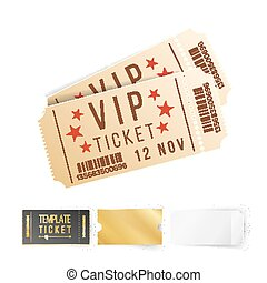 Two Cinema Tickets Vector. Top View Blank. Template Isolated On White Background