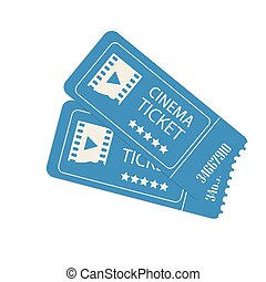 Two cinema vector tickets isolated on white background