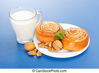 Two cinnamon rolls and a cup of milk