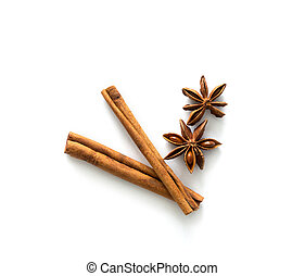 Two brown vegeterian cinnamon sticks lying on the table, spicy and healthy, topview