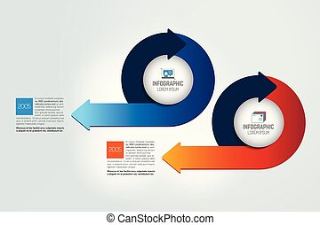 Two circle arrows  infographic, chart, scheme, diagram.