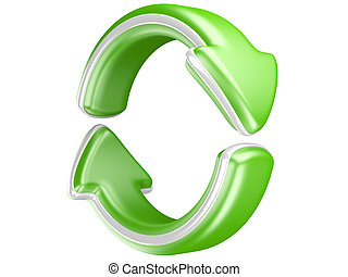 Two circular arrows. Recycle symbol isolated on white. 3D...