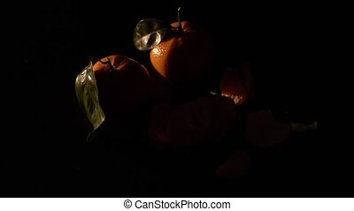 Two citrus mandarin with leafes on black background isolated
