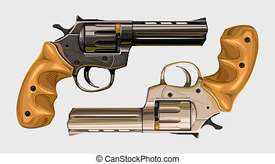 two classic revolvers on white
