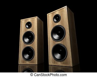 Two classic wooden speakers on black background with reflection