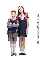 Two classmates are happy to start new year of study,...