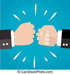 Two clenched fists in air punching. Vector illustration with...
