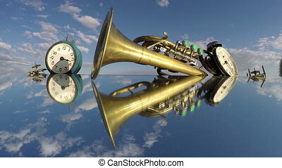 Two clocks and a trumpet on the mirror beneath the cloudy...