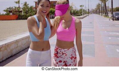 Two close female friends enjoying a summer walk on a...